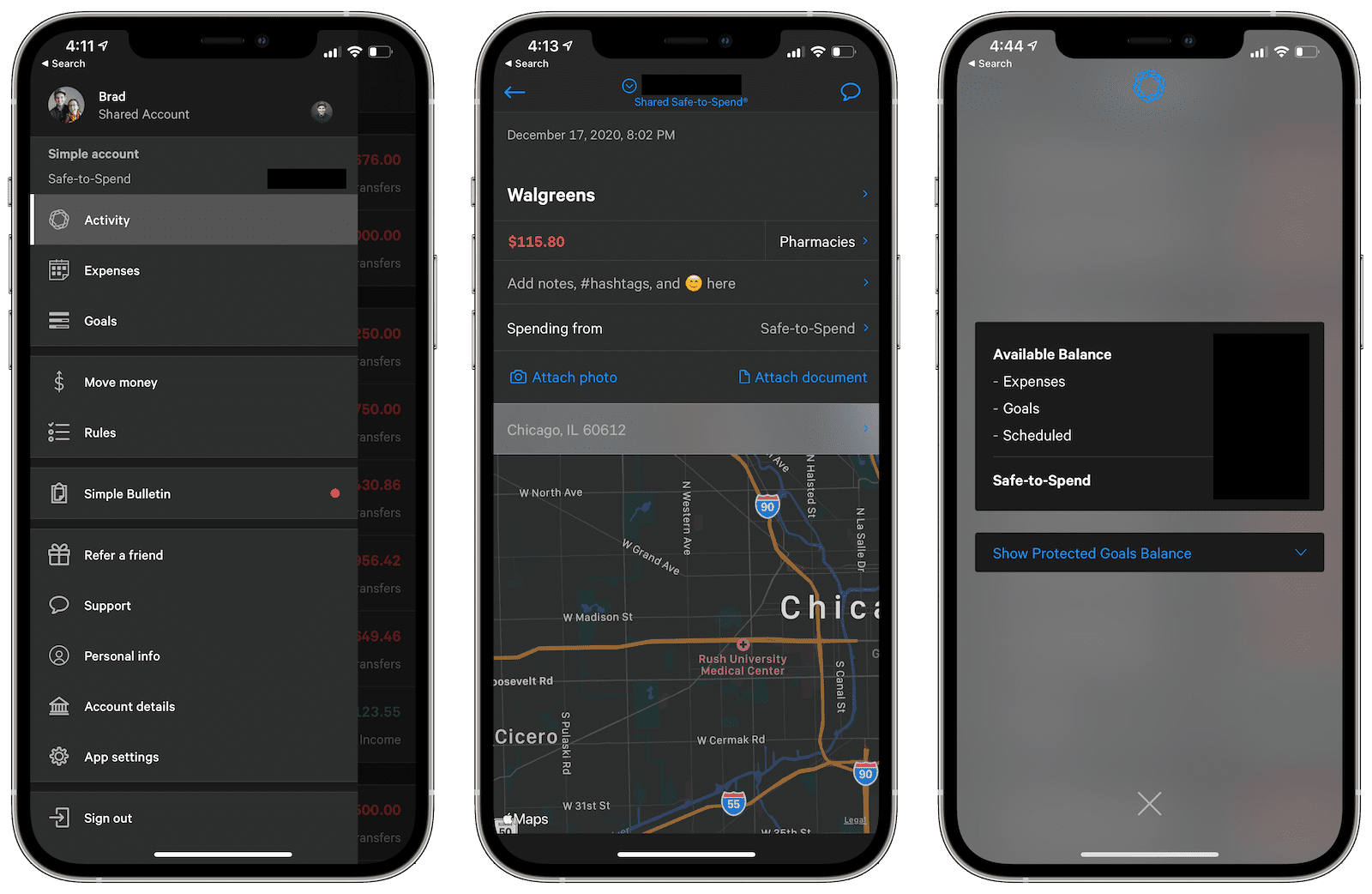 A few of Simple's iOS app screens