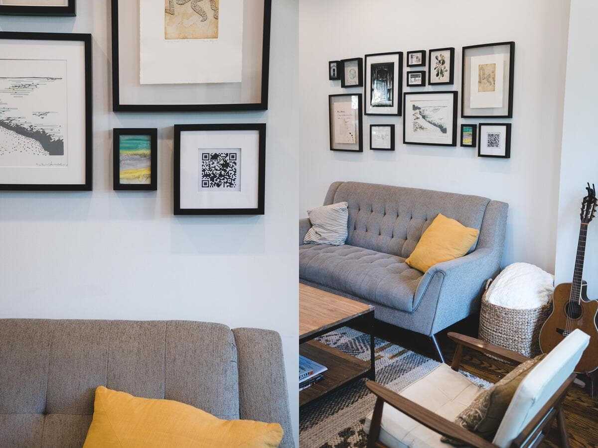 Photos of my living room with the framed QR code in view