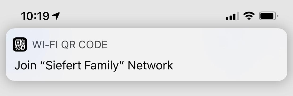Screenshot of the notification to join my WiFi network