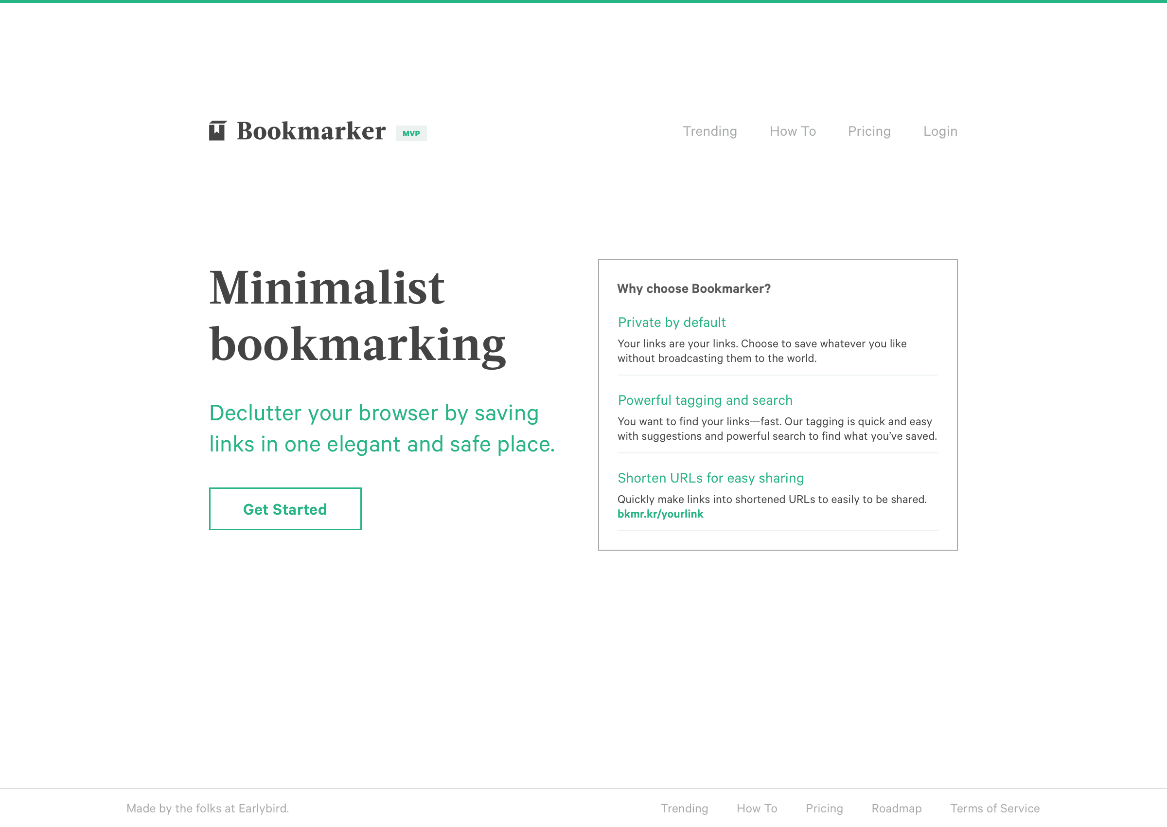 Screenshot of the landing page for Bookmarker