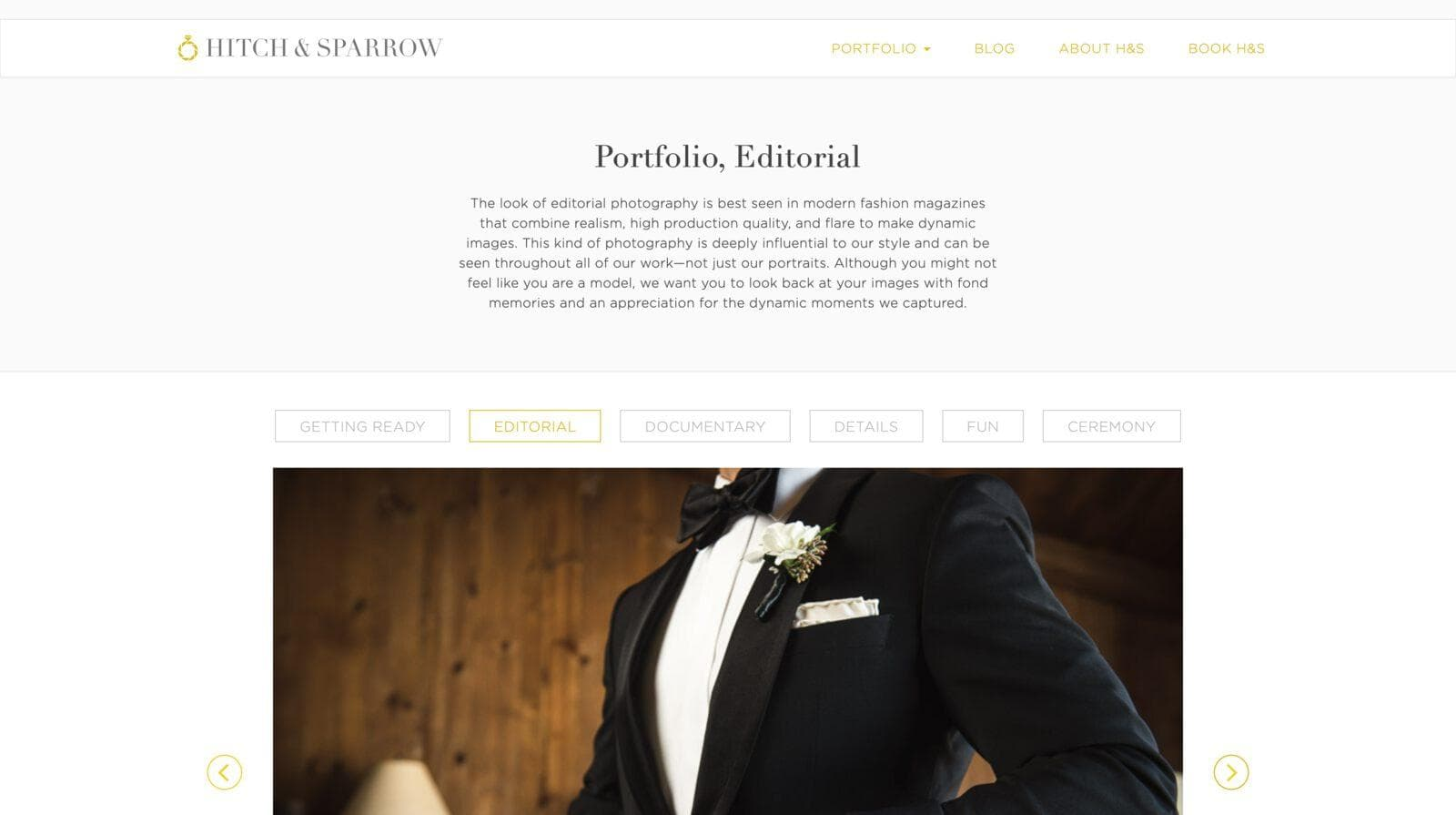 Screenshot of the portfolio page on the website